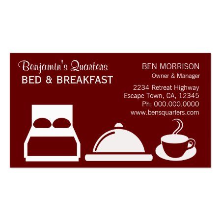 Red and White Bed and Breakfast Business Cards