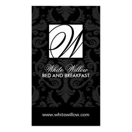 Black and Grey Damask Monogram Bed and Breakfast Business Cards