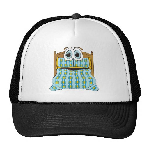Bed Cartoon Blue and Gold Trucker Hat