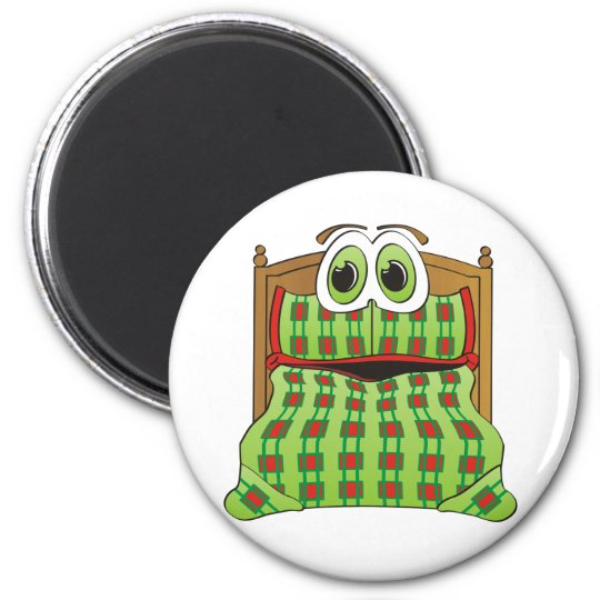 Bed Cartoon Green and Red Magnet