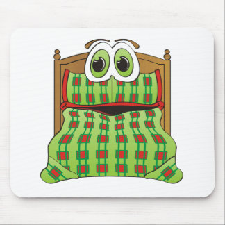 Bed Cartoon Green and Red Mouse Pad