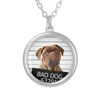 Bed dog - mastiff silver plated necklace
