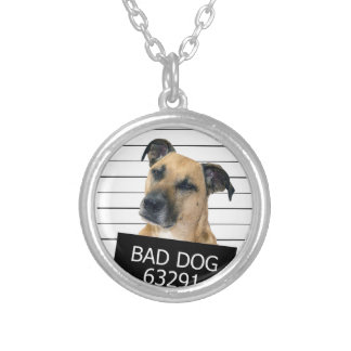 Bed dog silver plated necklace