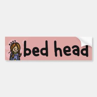 bed head bumpersticker. bumper sticker