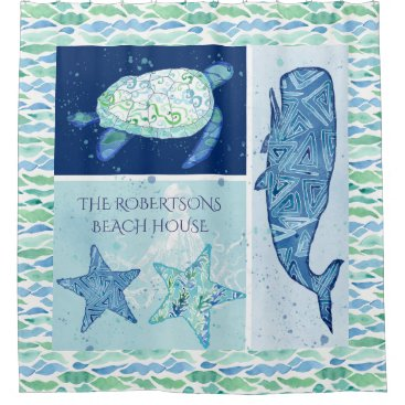 Beach Themed Bed n Breakfast Beach Ocean Whale Starfish Turtle Shower Curtain