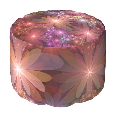 Bed Of Flowers Colorful Shiny Abstract Fractal Art Pouf
