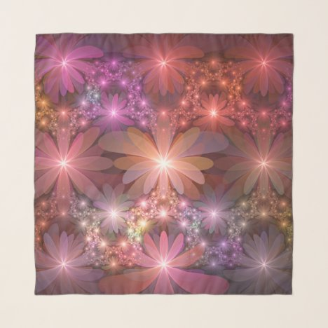 Bed Of Flowers Colorful Shiny Abstract Fractal Art Scarf