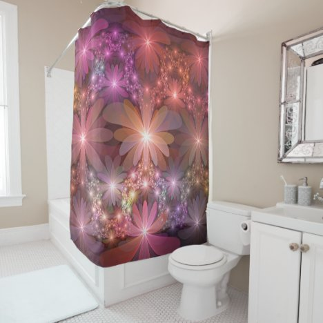 Bed Of Flowers Colorful Shiny Abstract Fractal Art Shower Curtain