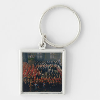 Bed of Justice Held at the Parlement de Paris Silver-Colored Square Keychain