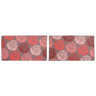 Bed of Roses, Monochrome Brilliant Pink Pillow Case