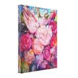 Bed of Soft Pink Flowers for a Little Pink Bird Canvas Prints