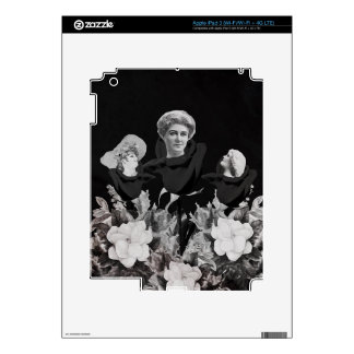 Bed Of Vintage Woman Blk Decal For iPad 3