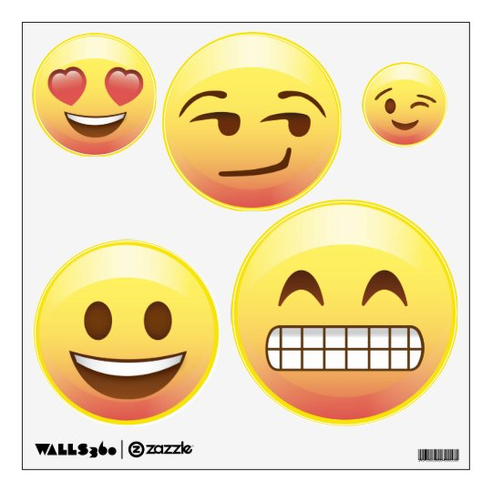 Bed Room Makeover Emoji Wall Decals Happy Emotions Zazzlecom - Emoji wall decals