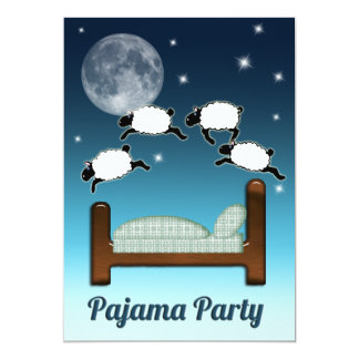 Bed, Sky, and Counting Sheep at Night PJ Party Personalized Invites
