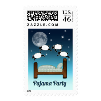 Bed, Sky, and Counting Sheep at Night PJ Party Postage Stamp