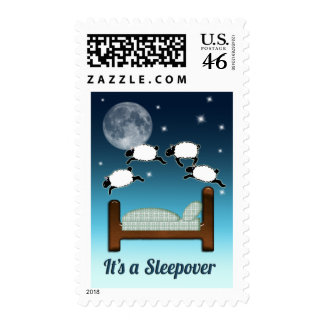 Bed, Sky, and Counting Sheep at Night Sleepover Postage Stamp