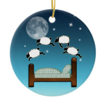 Bed, Sky, & Counting Sheep at Night Ceramic Ornament