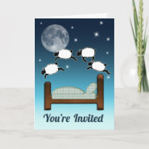 Bed, Sky, & Counting Sheep at Night Invited Invitation