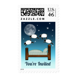 Bed, Sky, & Counting Sheep at Night Invited Postage Stamp