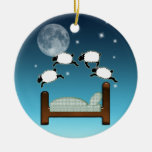 Bed, Sky, & Counting Sheep at Night Christmas Tree Ornament