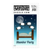 Bed, Sky, & Counting Sheep at Night Slumber Party Postage