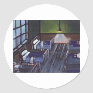 BED TIME IN THE CHILDRENS HOME CLASSIC ROUND STICKER