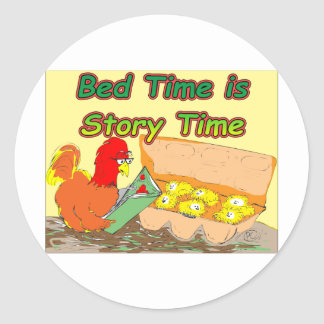 Bed Time is Story Time Classic Round Sticker