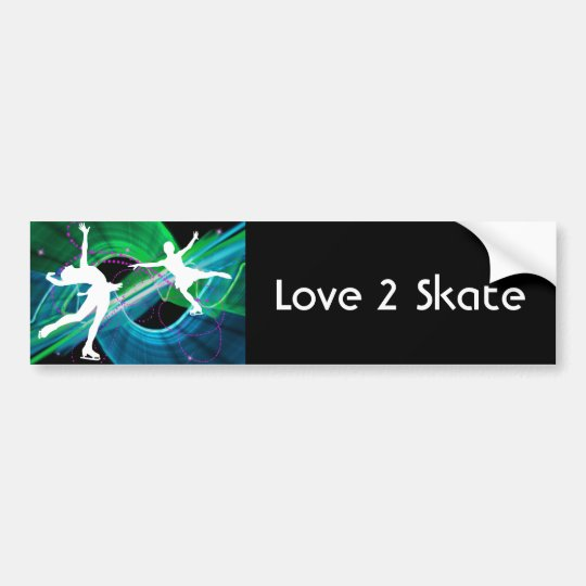 Bedazzled Figure Skaters Ice Skating Bumper Sticker
