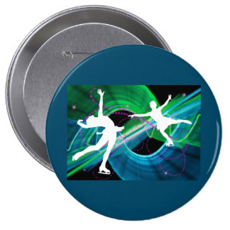 Bedazzled Figure Skaters Ice Skating Button