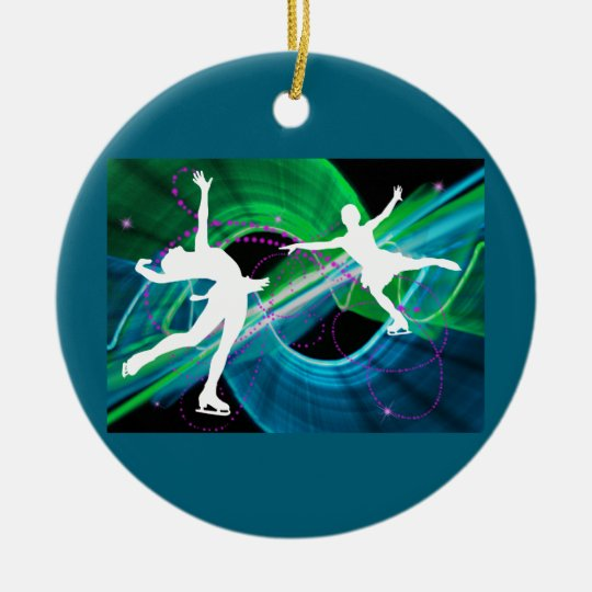 Bedazzled Figure Skaters Ice Skating Ceramic Ornament
