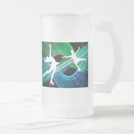 Bedazzled Figure Skaters Ice Skating Frosted Glass Beer Mug
