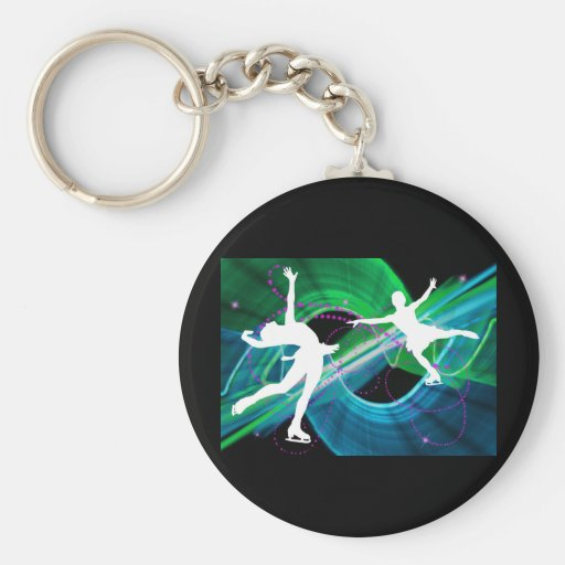 Bedazzled Figure Skaters Ice Skating Basic Round Button Keychain