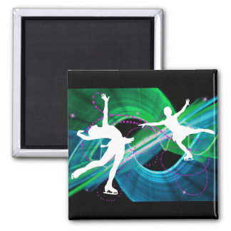 Bedazzled Figure Skaters Ice Skating Refrigerator Magnet