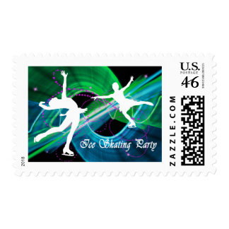 Bedazzled Figure Skaters Ice Skating Party Postage