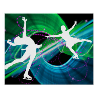 Bedazzled Figure Skaters Ice Skating Poster