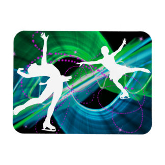 Bedazzled Figure Skaters Ice Skating Vinyl Magnets