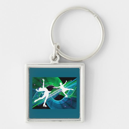 Bedazzled Figure Skaters Ice Skating Silver-Colored Square Keychain