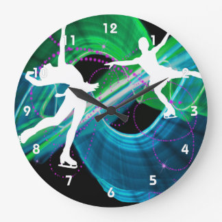 Bedazzled Figure Skaters Large Clock