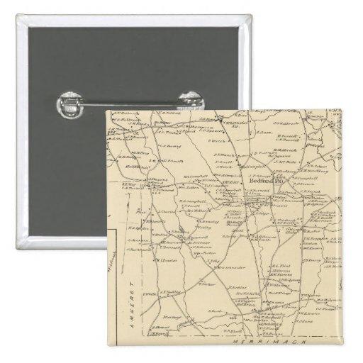 Bedford, Amherst, Hillsborough Co Pin Cuadrada 5 Cm