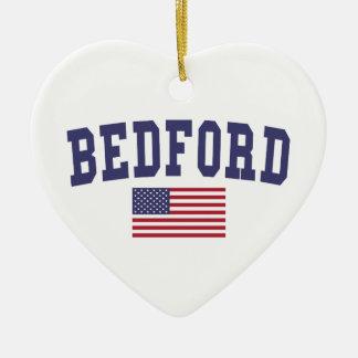 Bedford US Flag Ceramic Ornament