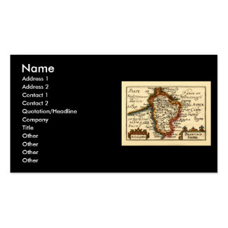 Bedfordshire County Map, England Business Card