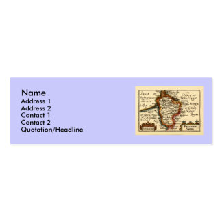Bedfordshire County Map, England Double-Sided Mini Business Cards (Pack Of 20)