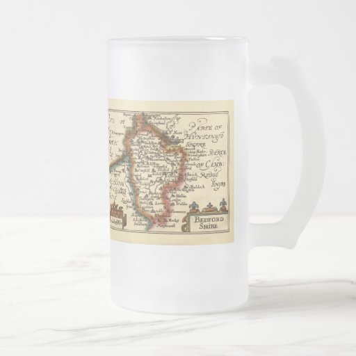 Bedfordshire County Map, England Frosted Glass Beer Mug