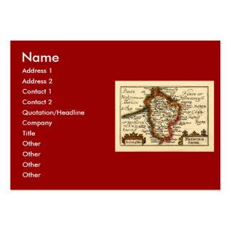 Bedfordshire County Map, England Large Business Card