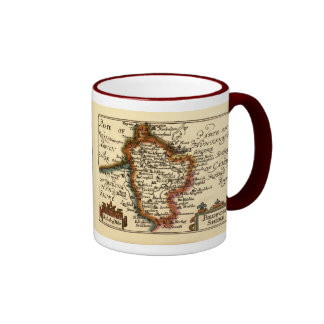 Bedfordshire County Map, England Coffee Mug
