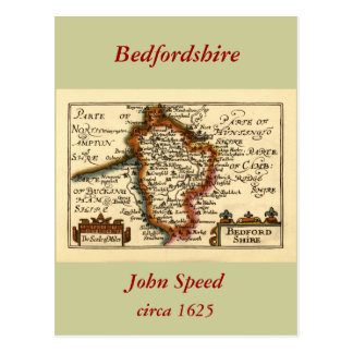 Bedfordshire County Map England Postcards