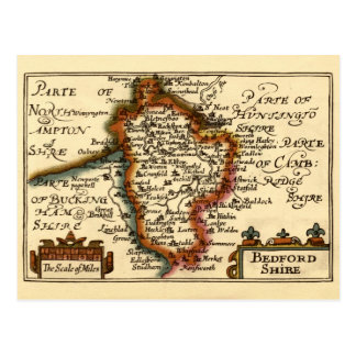 Bedfordshire County Map, England Postcard