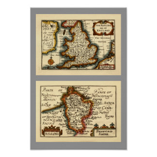 Bedfordshire County Map, England Posters
