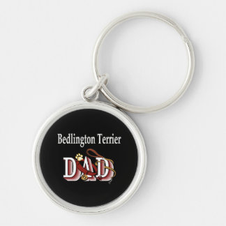 Bedlington Terrier Dad Silver-Colored Round Keychain