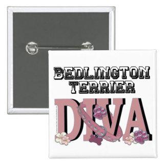 Bedlington Terrier DIVA 2 Inch Square Button